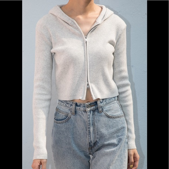 Brandy Melville Tops - Brandy Melville light gray Arden hoodie